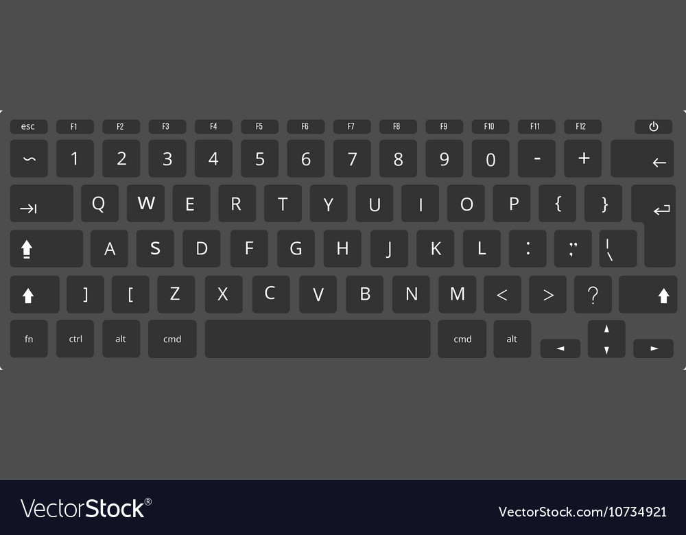 Black laptop computer keyboard template vector
