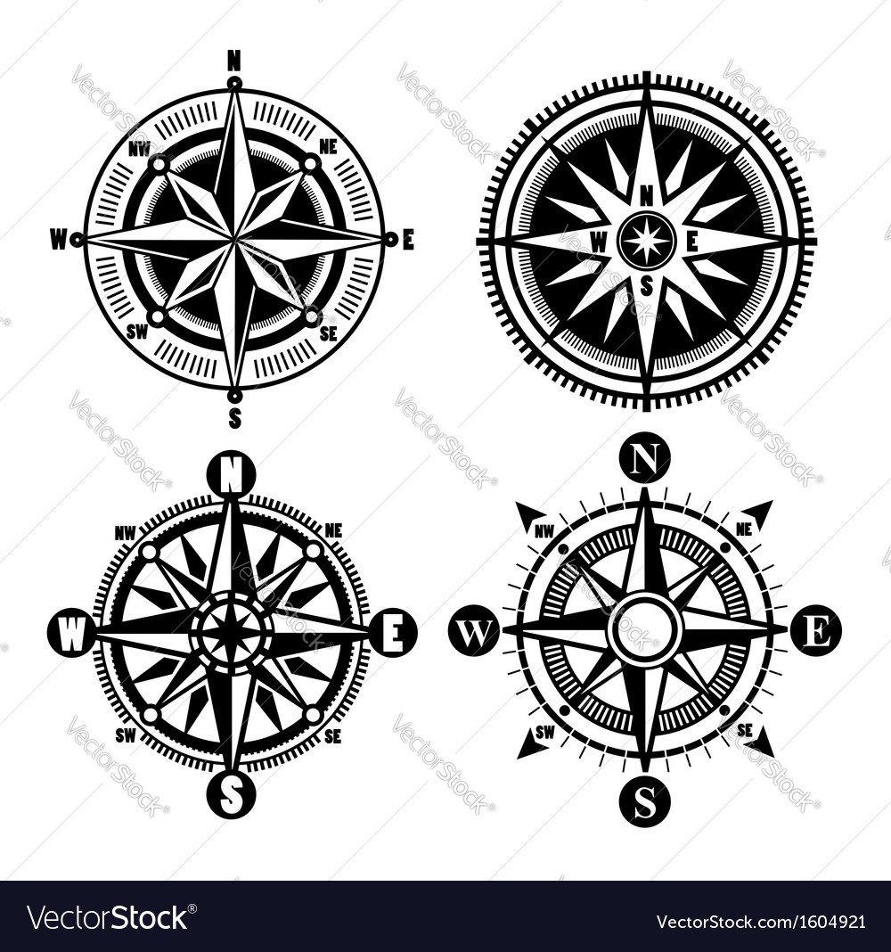 Compass icons vector