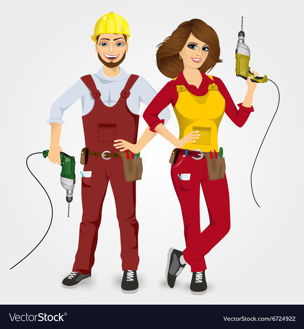 Handyman and handywoman holding drills vector
