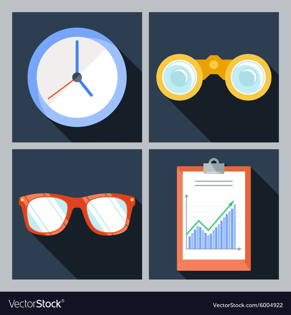 Set of four icons with the clock vector