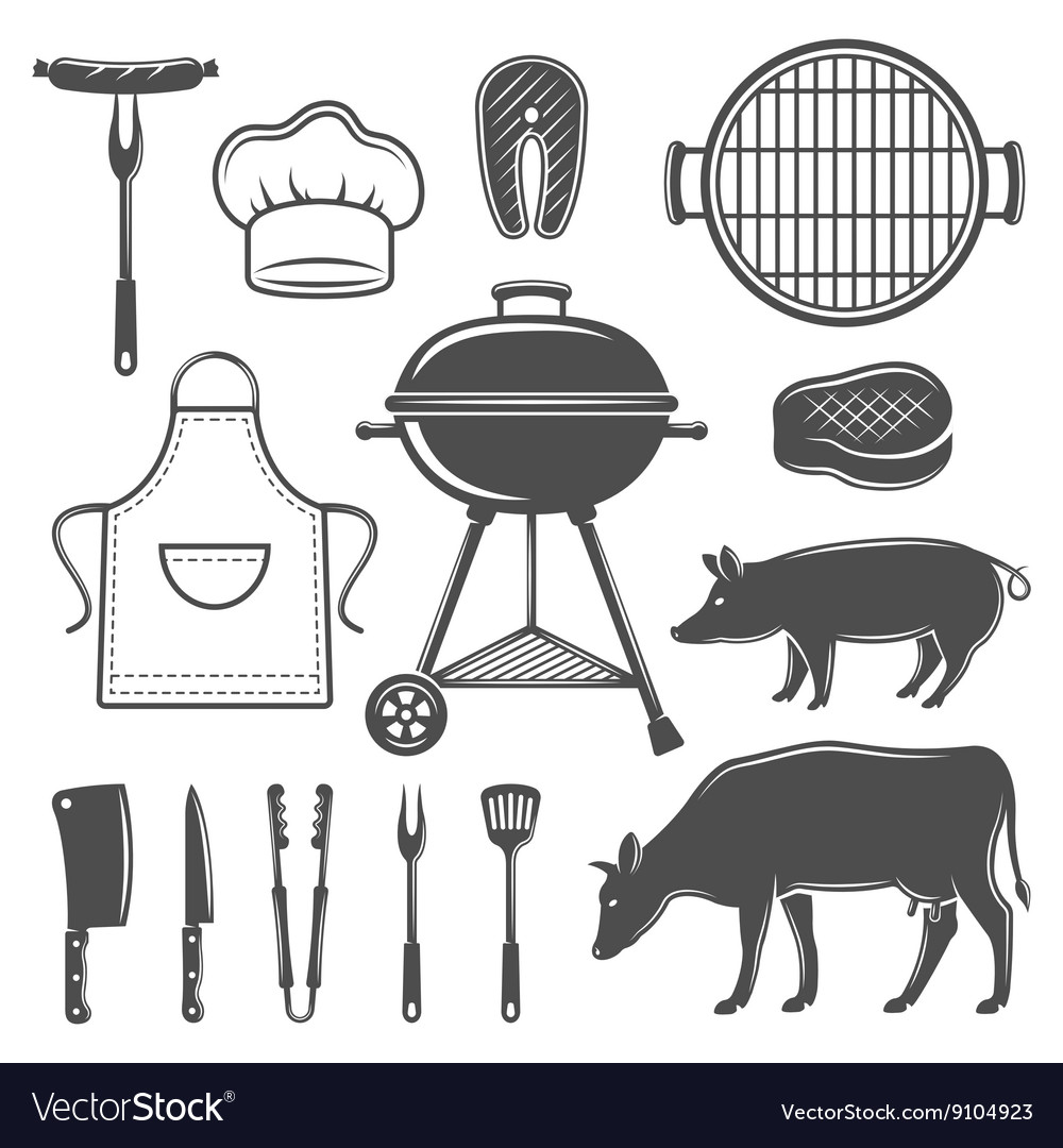 Bbq decorative graphic flat icons set vector