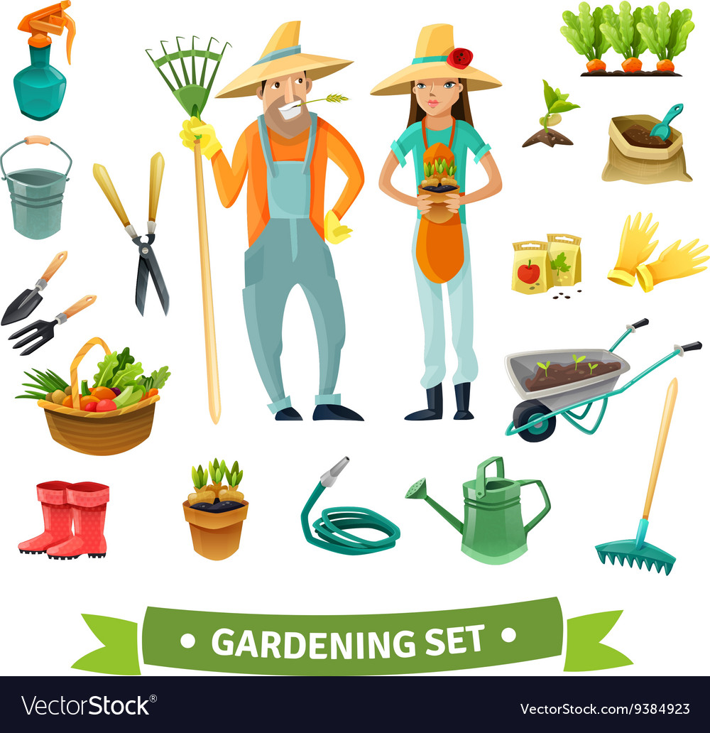 Gardening cartoon set vector