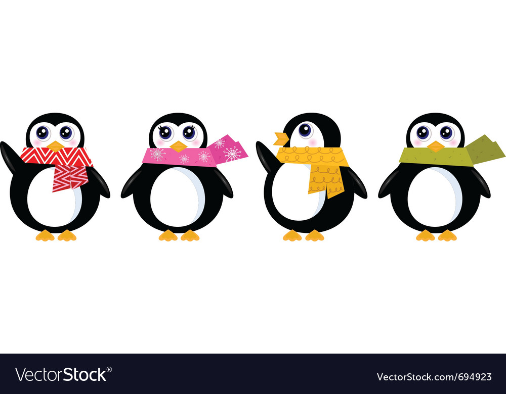 Retro winter penguin vector