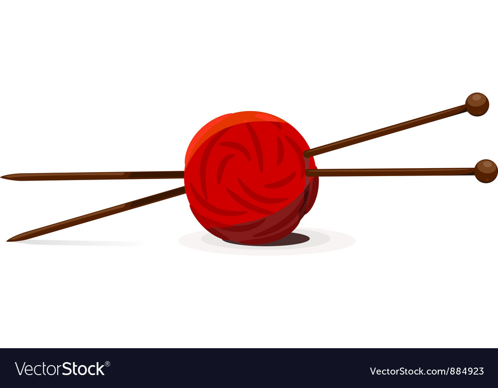 Wool ball and knitting needles vector