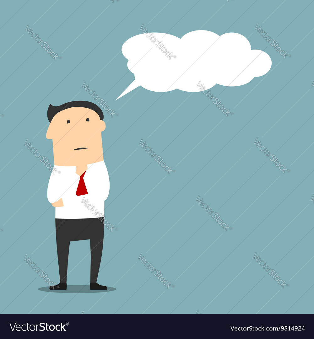 Cartoon businessman thinking with cloud or bubble vector
