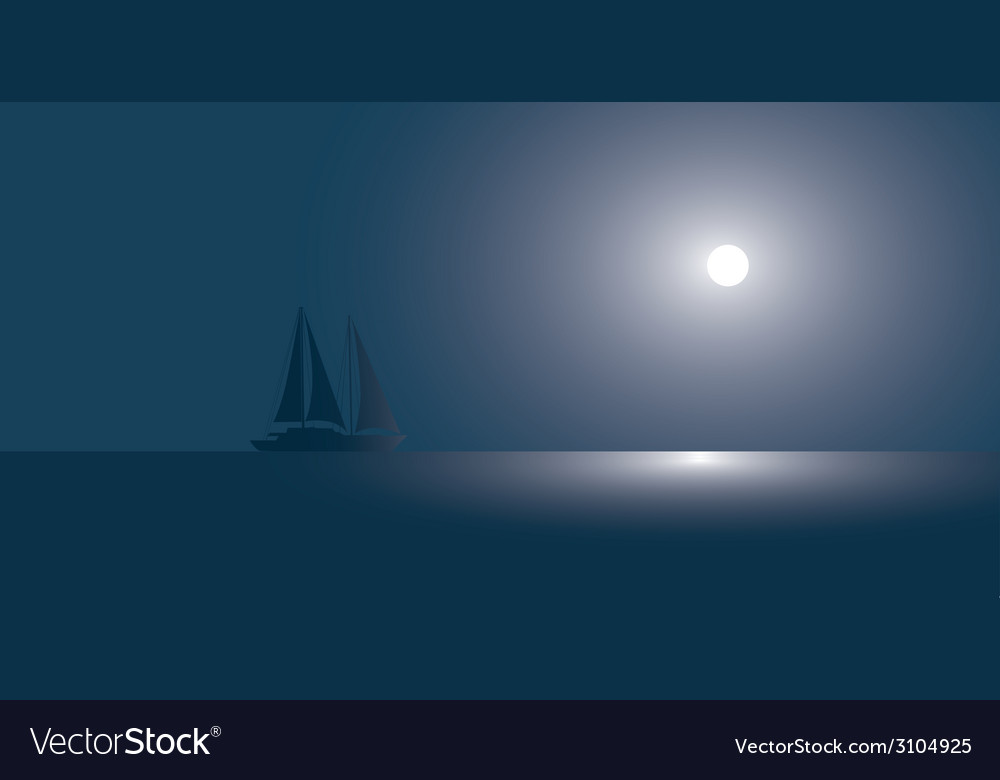 Yacht at the ocean against the coming sun vector