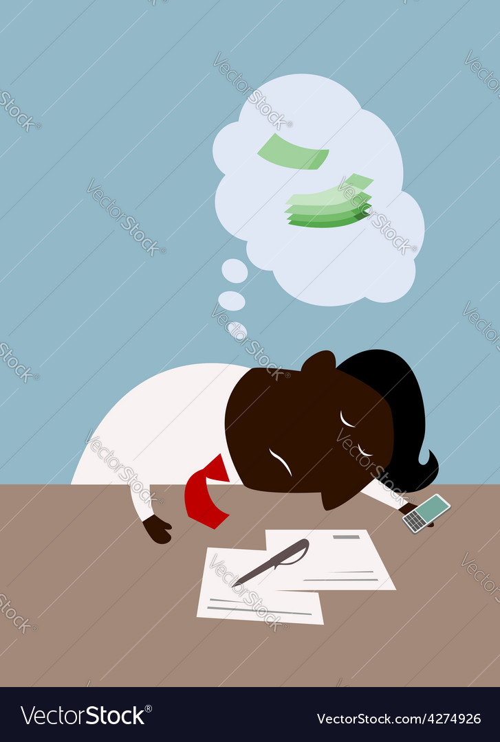 Cartoon black businessman dreaming about money vector