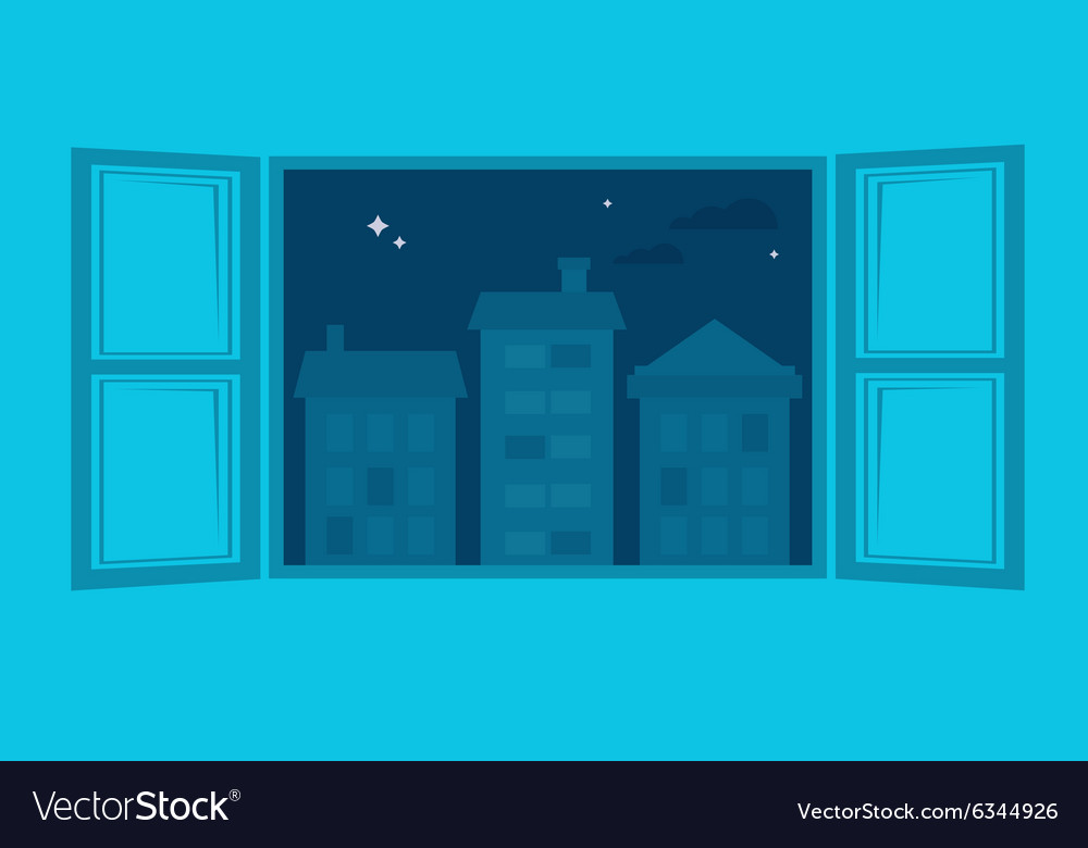 Room window wide open to a city view vector
