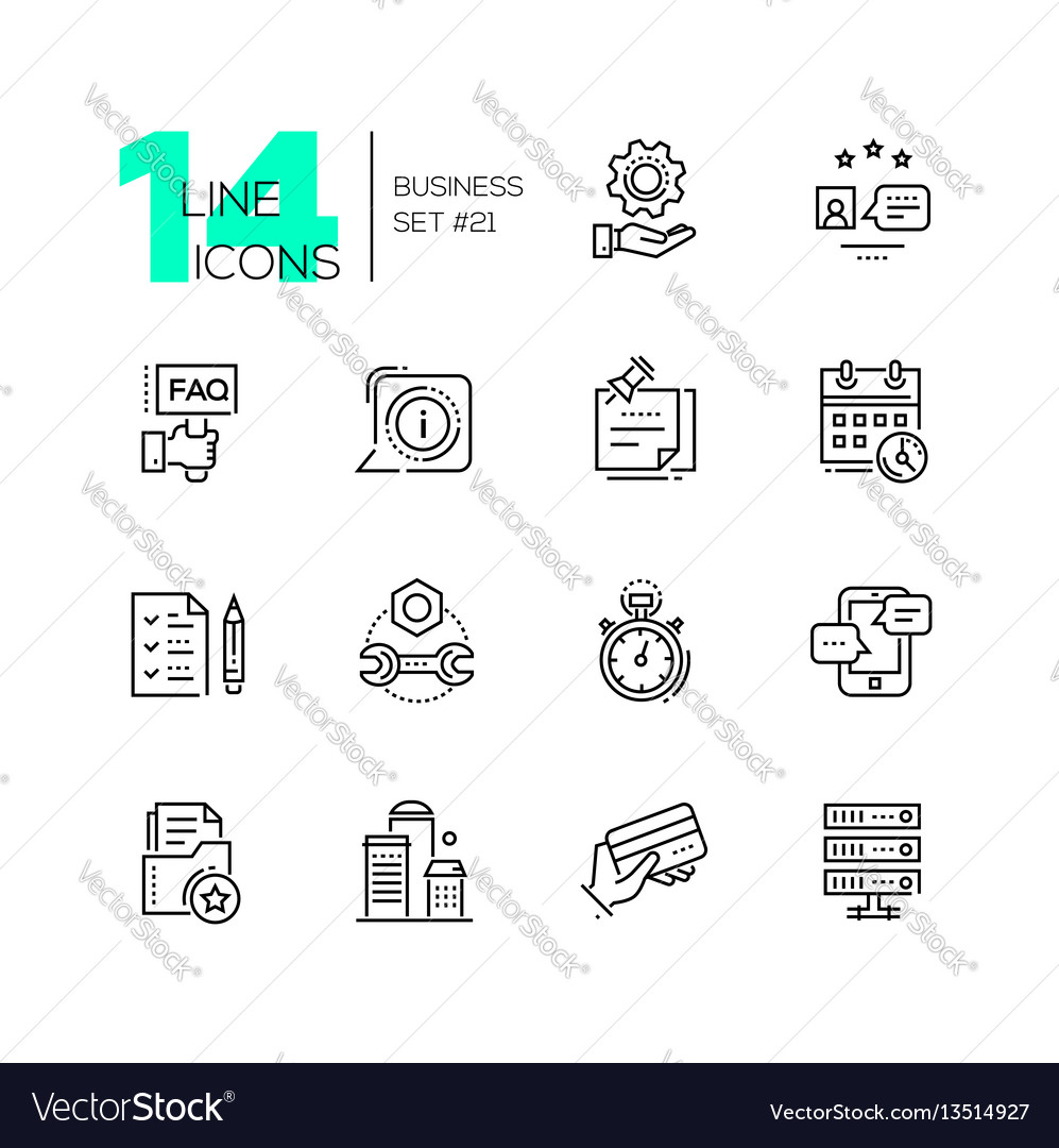 Business  monochromatic modern single line icons vector