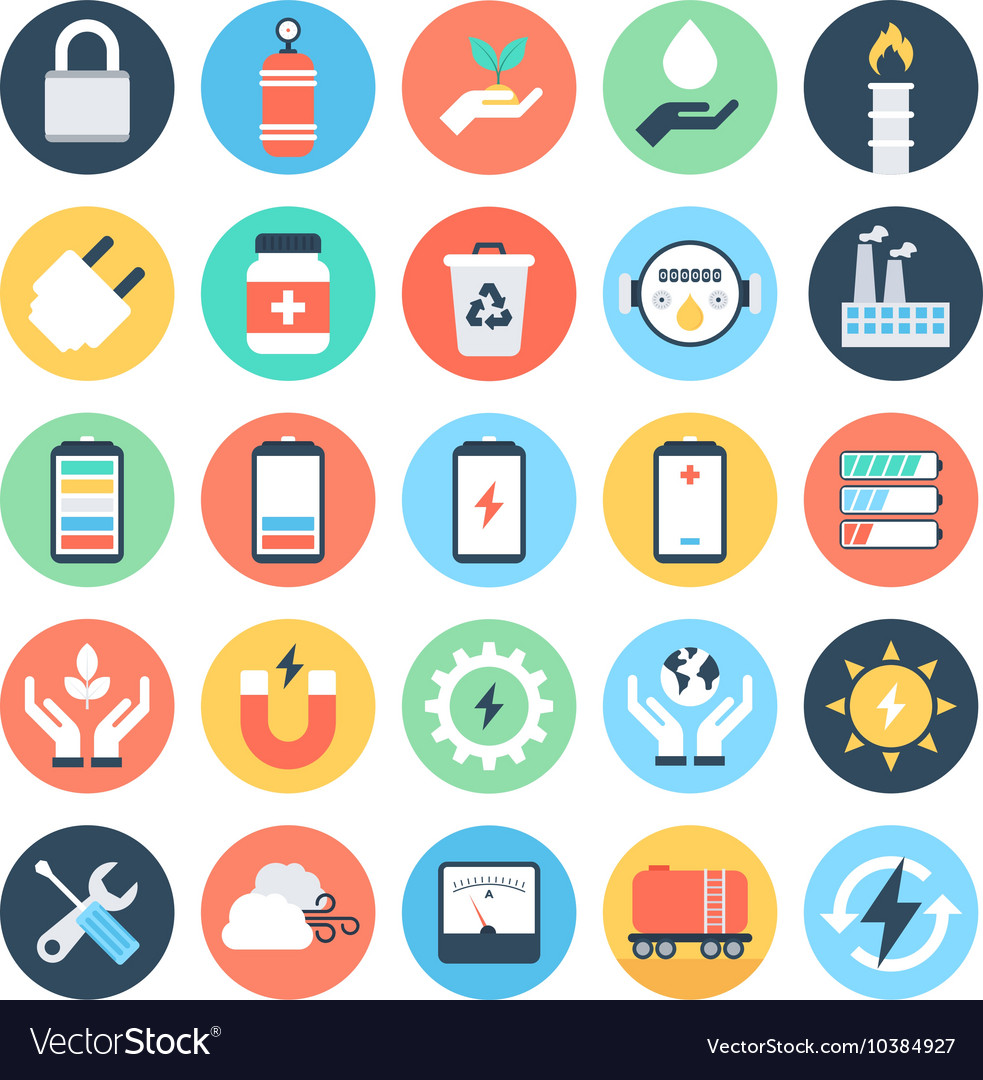 Energy and power colored icons 5 vector