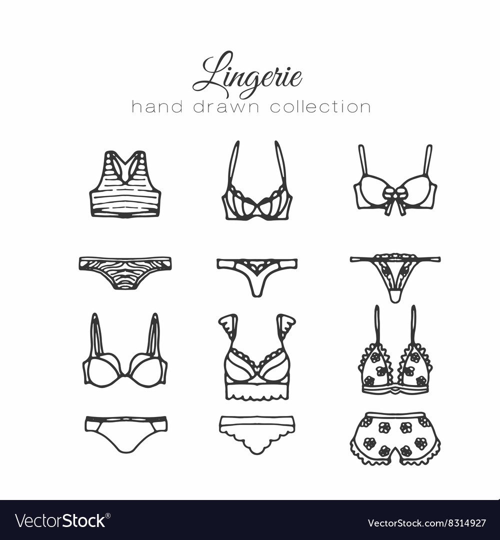 Lingerie set underwear design outline vector