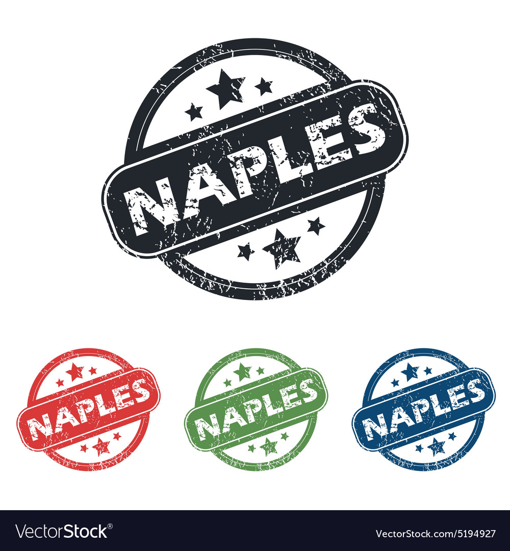 Round naples city stamp set vector