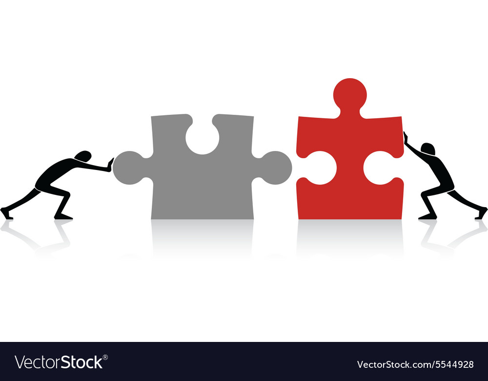 Connecting puzzle pieces vector
