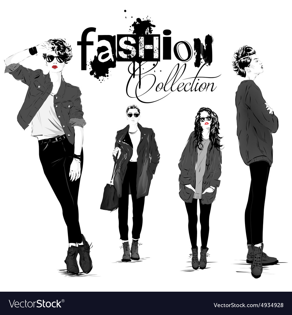 Fashion girl in sketchstyle vector