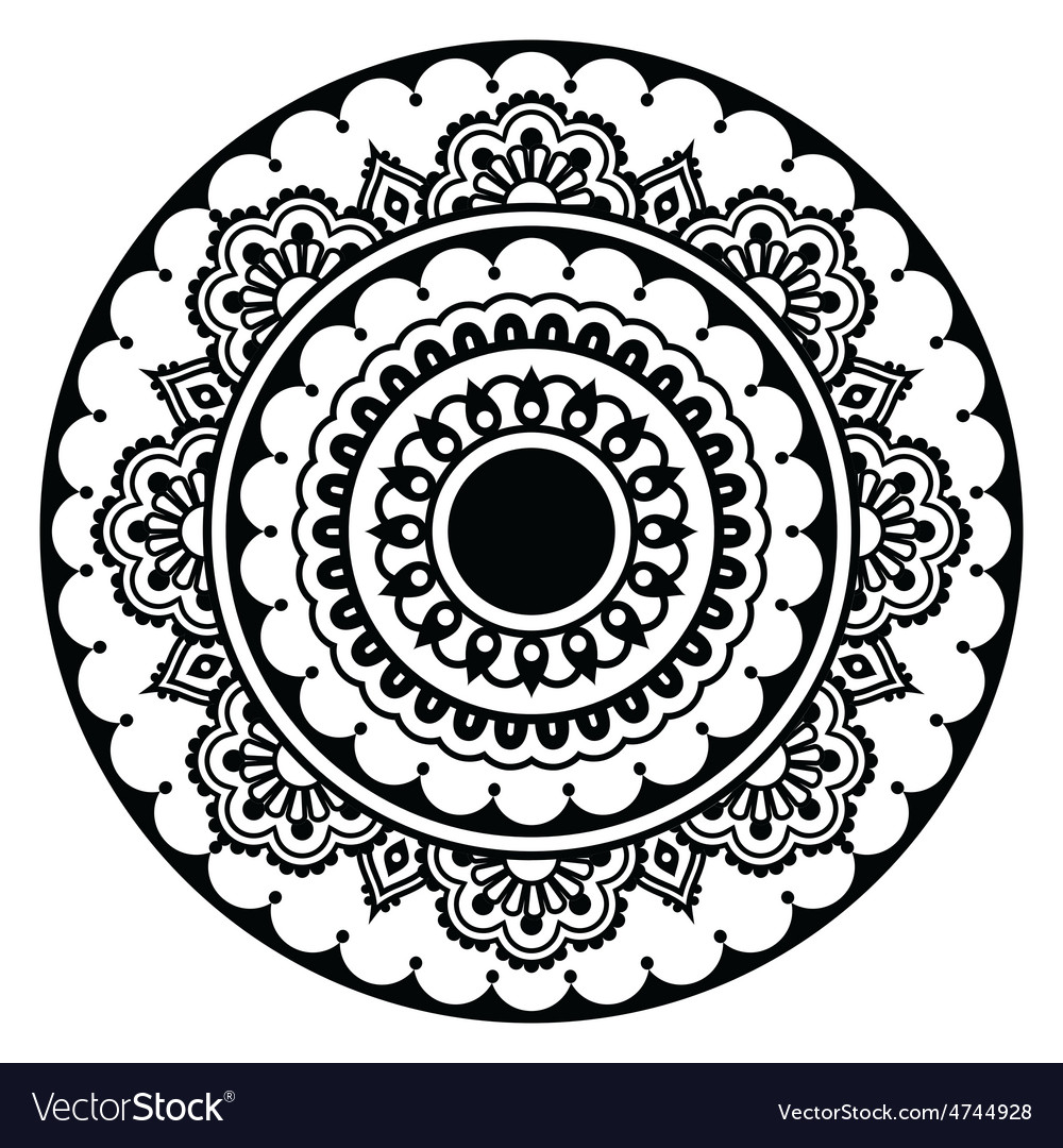 Mehndi indian henna floral tattoo round pattern vector