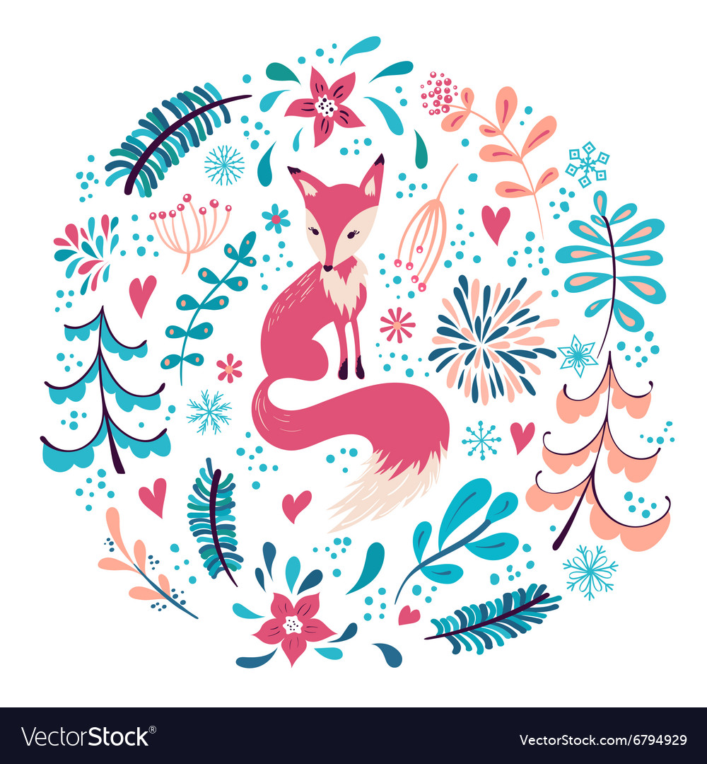 Fox with winter flowers and snowflakes vector