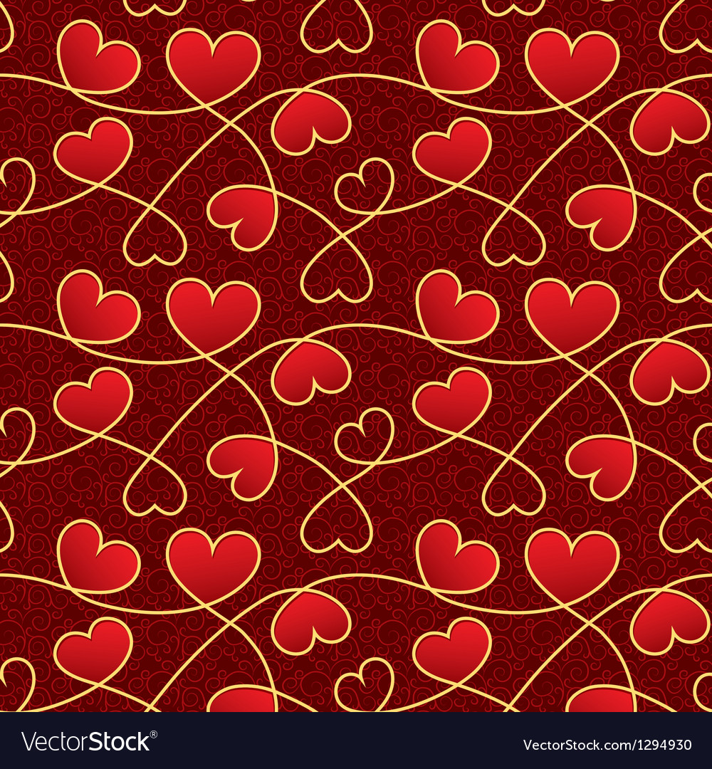 Valentine day texture with red hearts vector