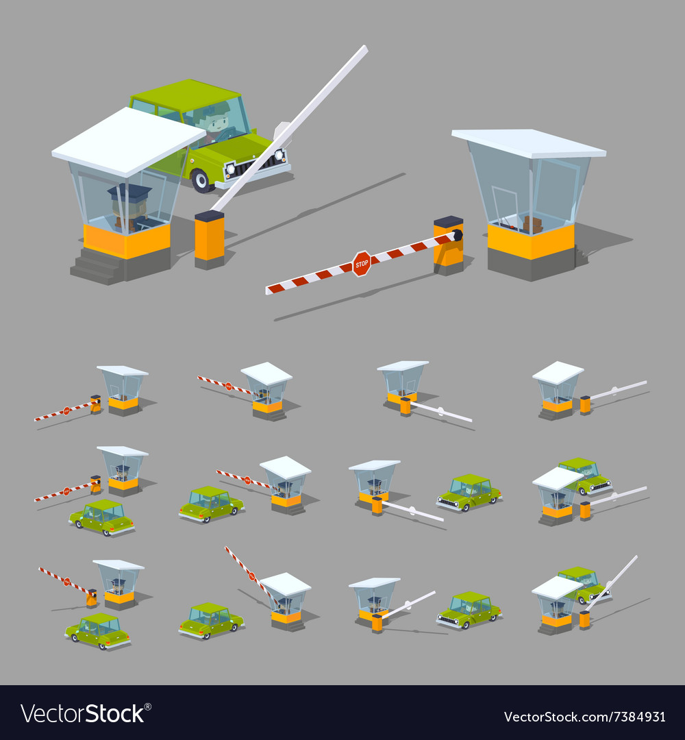 Barrier booth and green car vector