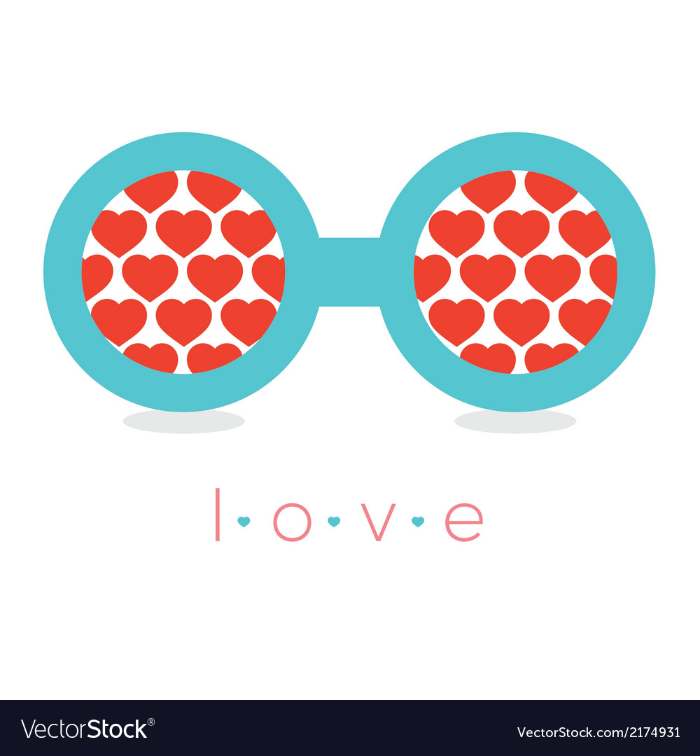 Hearts reflection eyeglasses vector