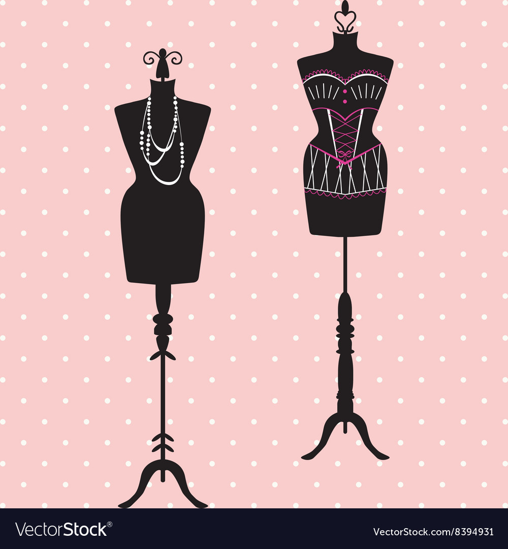 Mannequin silhouette fashion dress form vector
