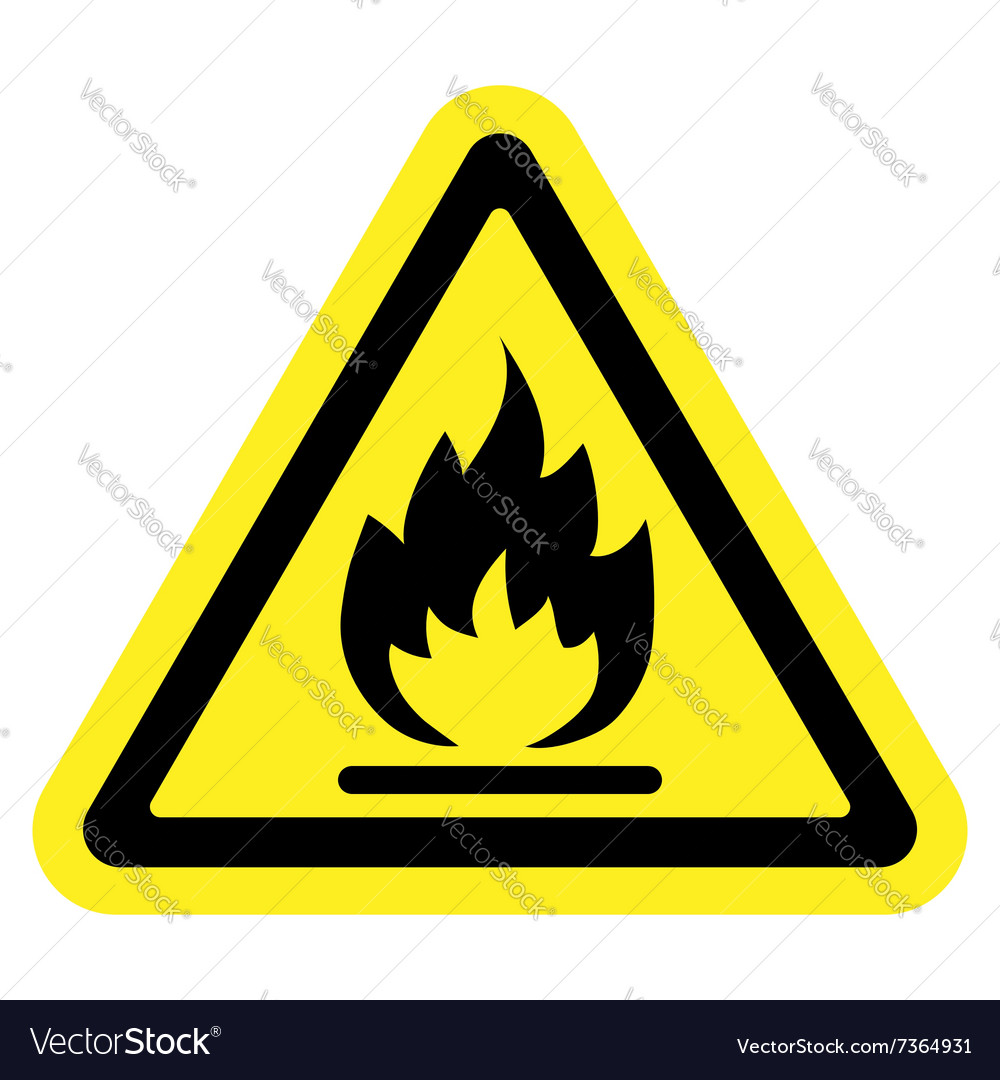 Sign fire yellow vector