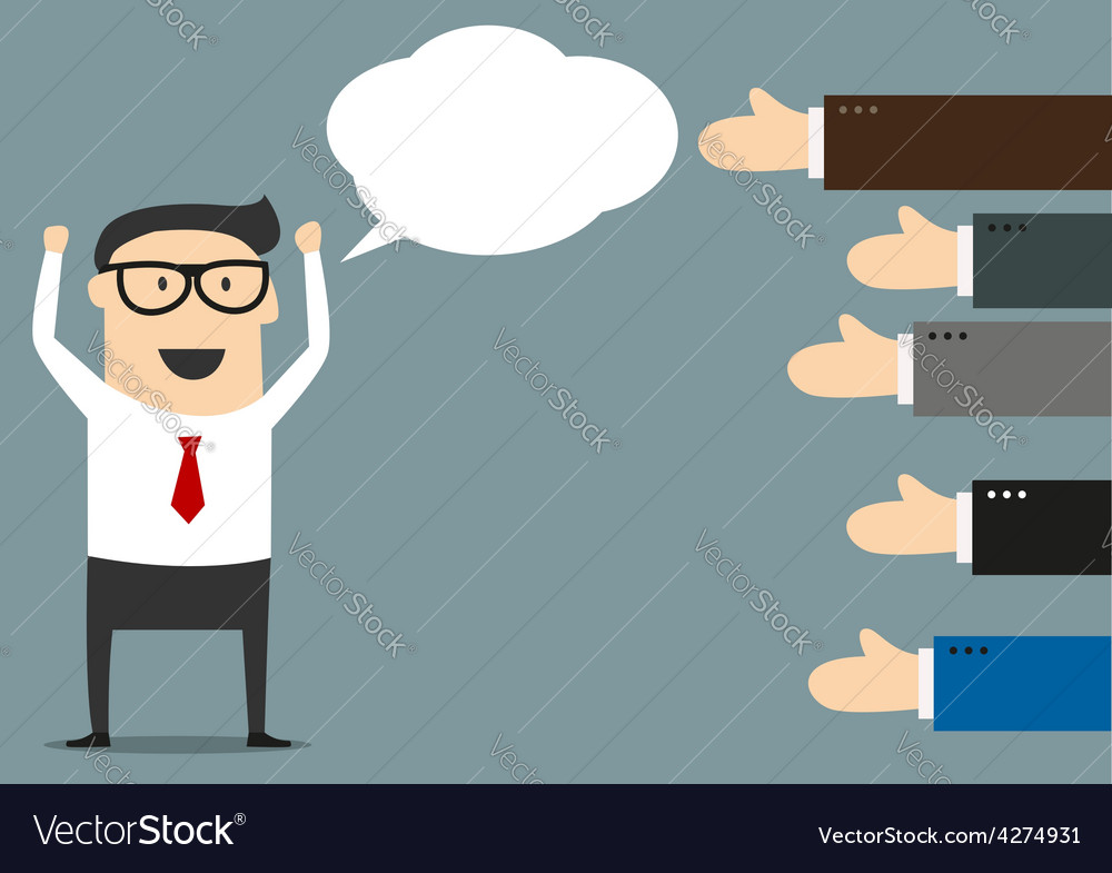 Successful businessman with many thumbs up vector