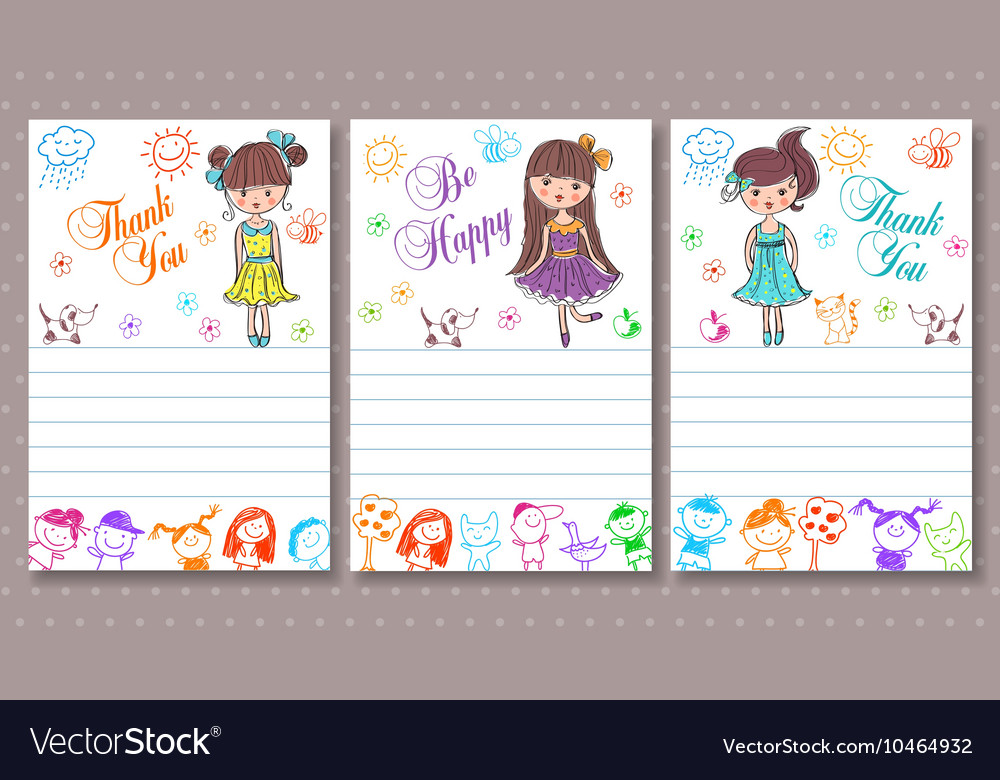 Business card with a picture of children vector