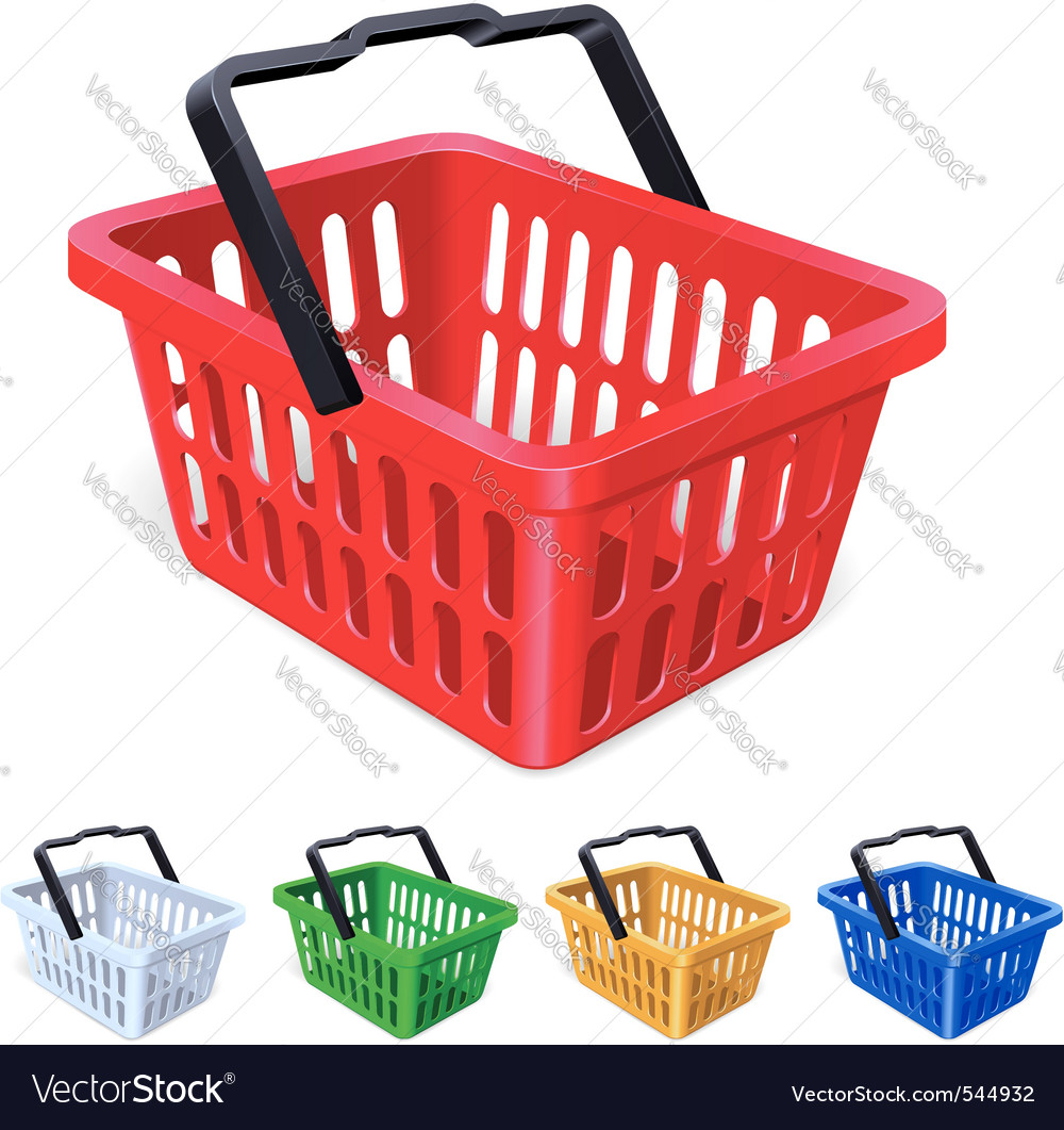 Colorful shopping basket vector