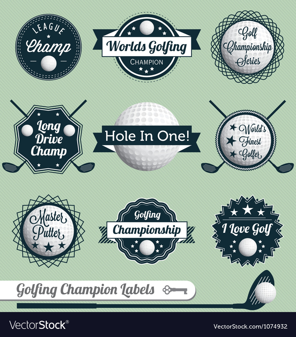 Golfing champion labels and icons vector