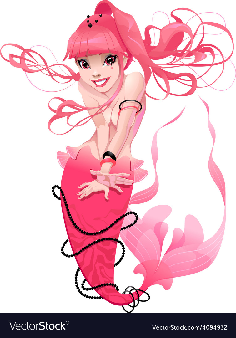 Young mermaid in pink vector