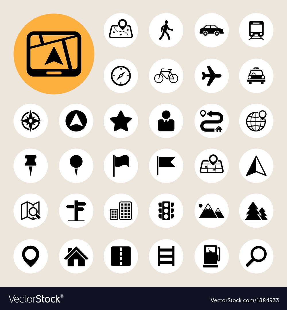 Map and location icons set vector