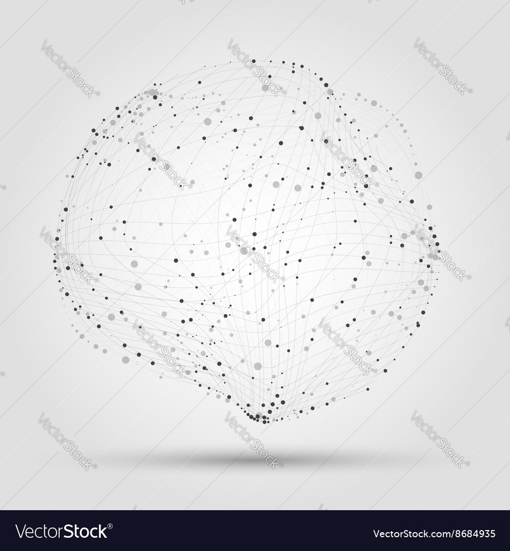 Abstract radial shape from lines and dots abstract vector