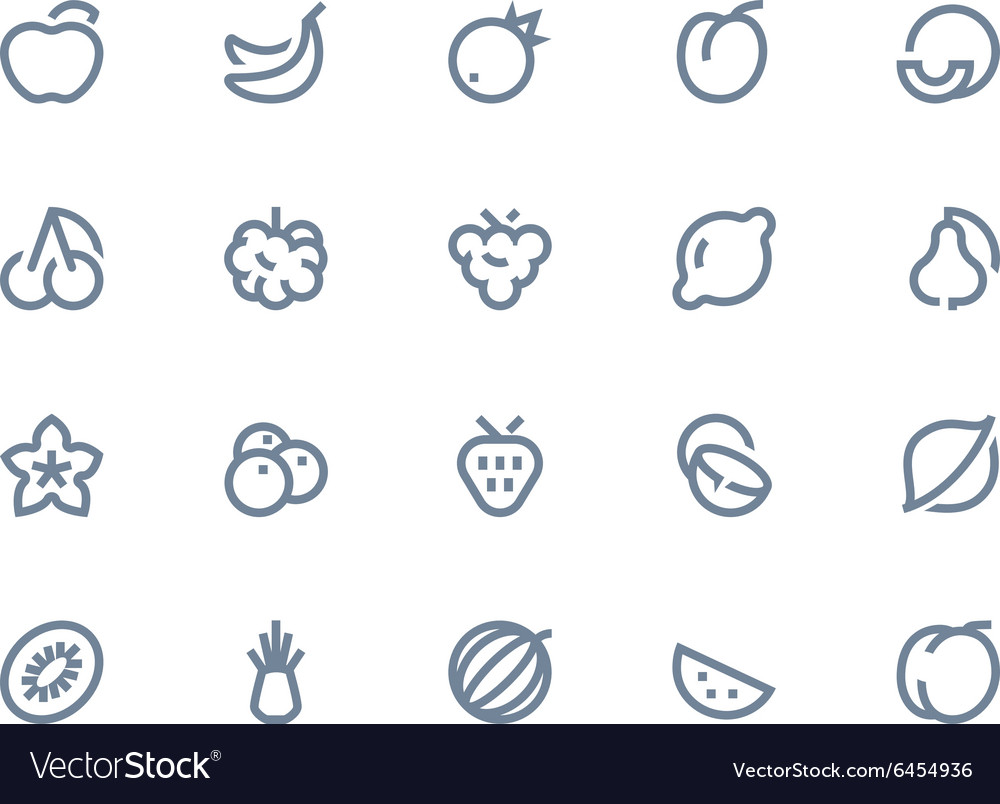 Fruits icons line seris vector
