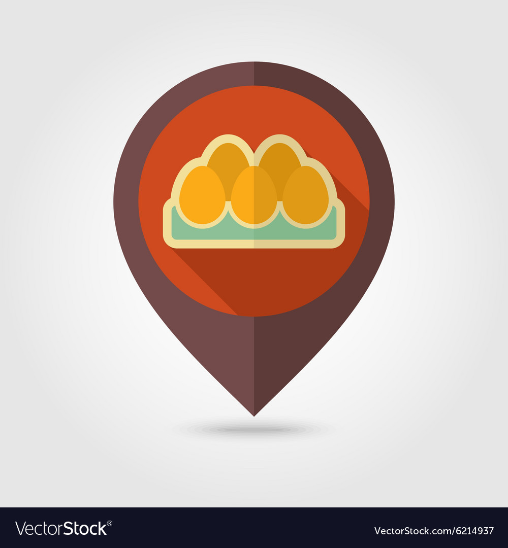 Chicken eggs in a tray flat mapping pin icon vector