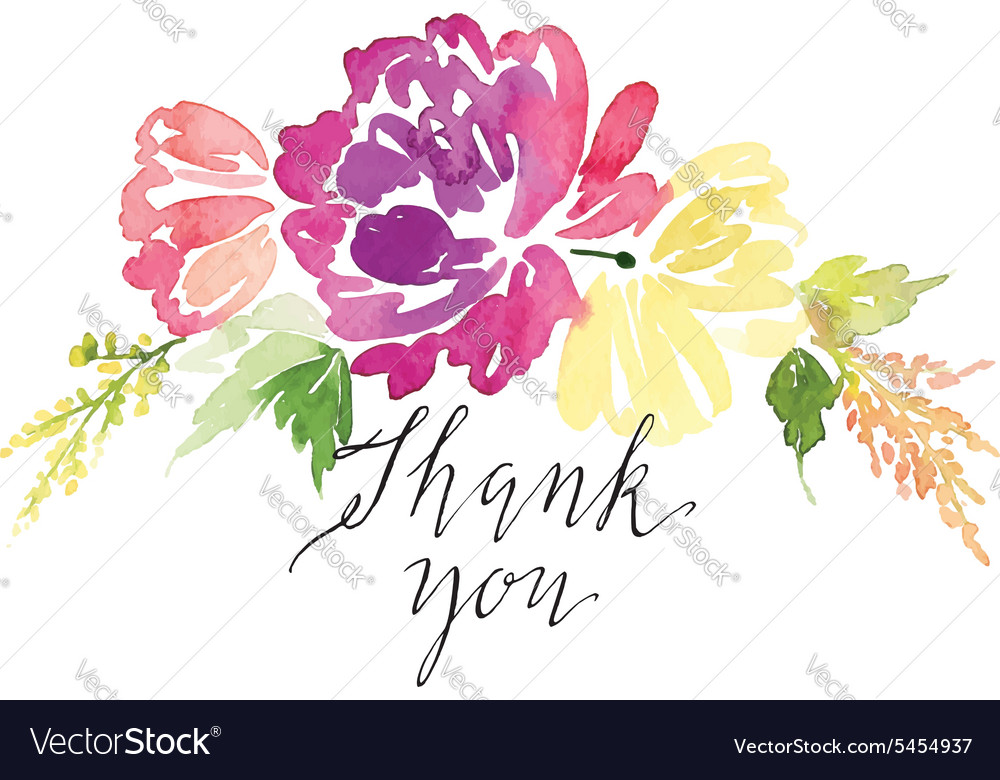 Watercolor greeting card flowers handmade vector