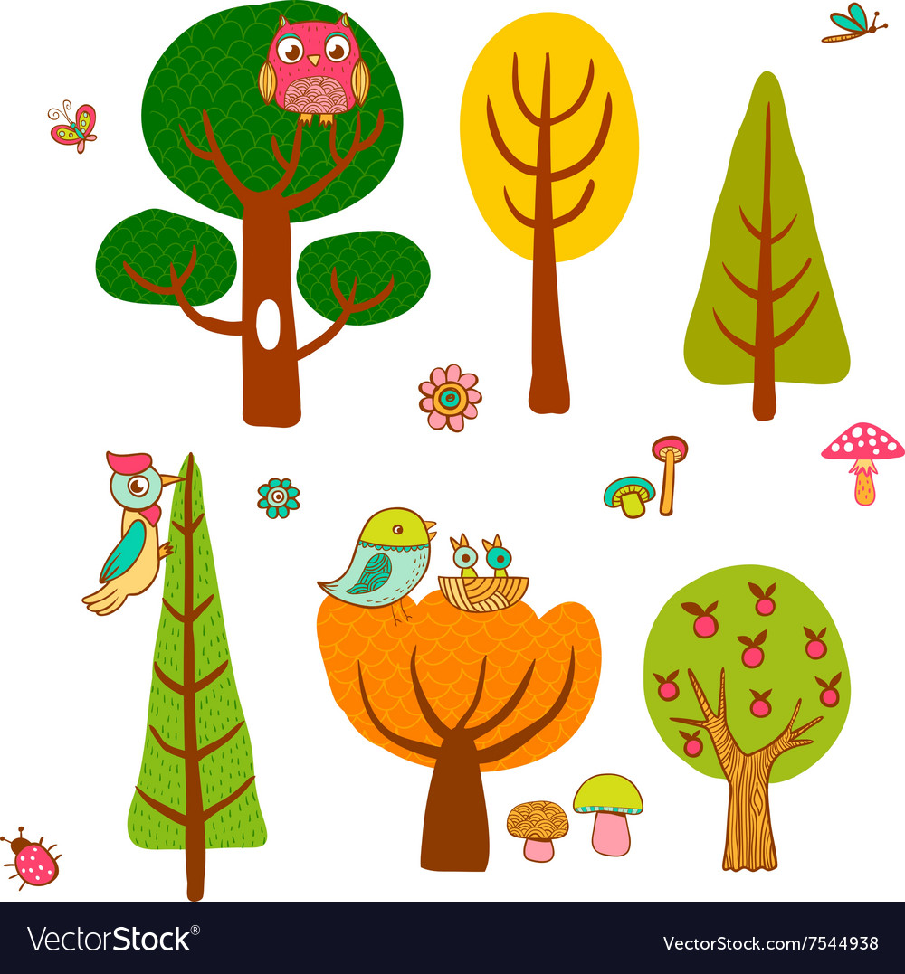 Lovely magic forest in cartoon style vector