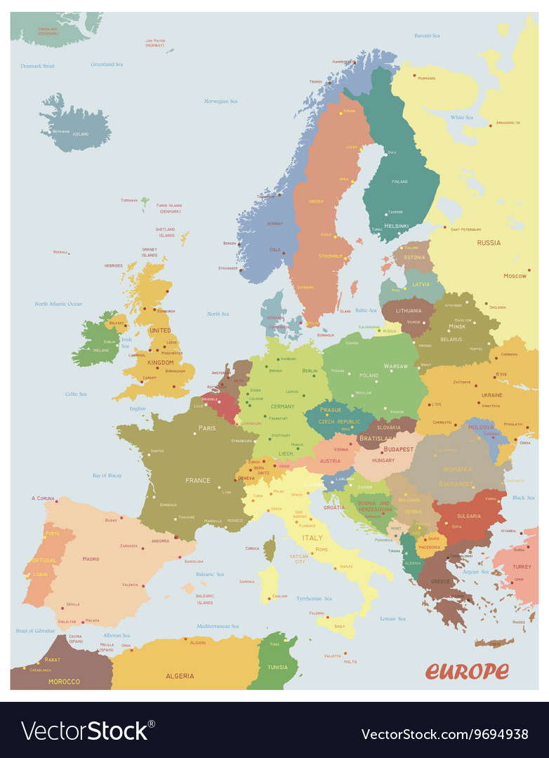 Original map of europe vector