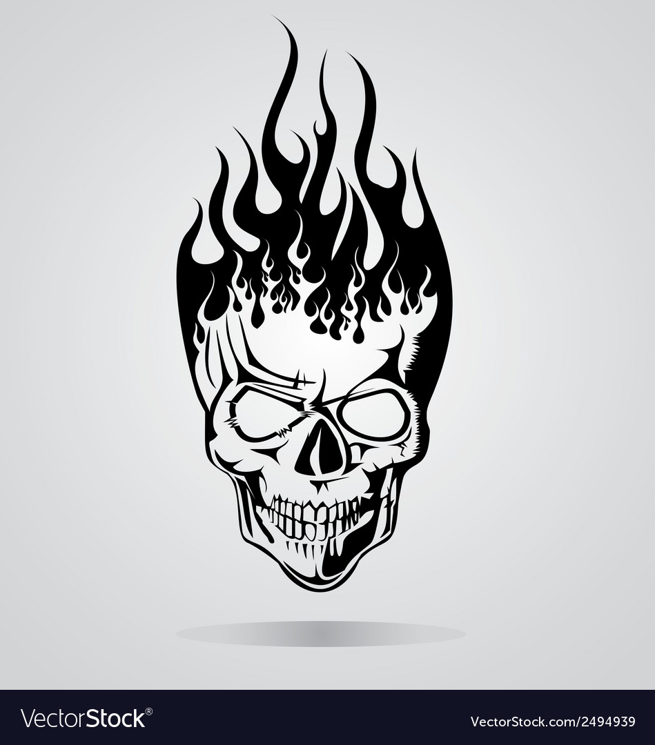 Burning skull tribal vector