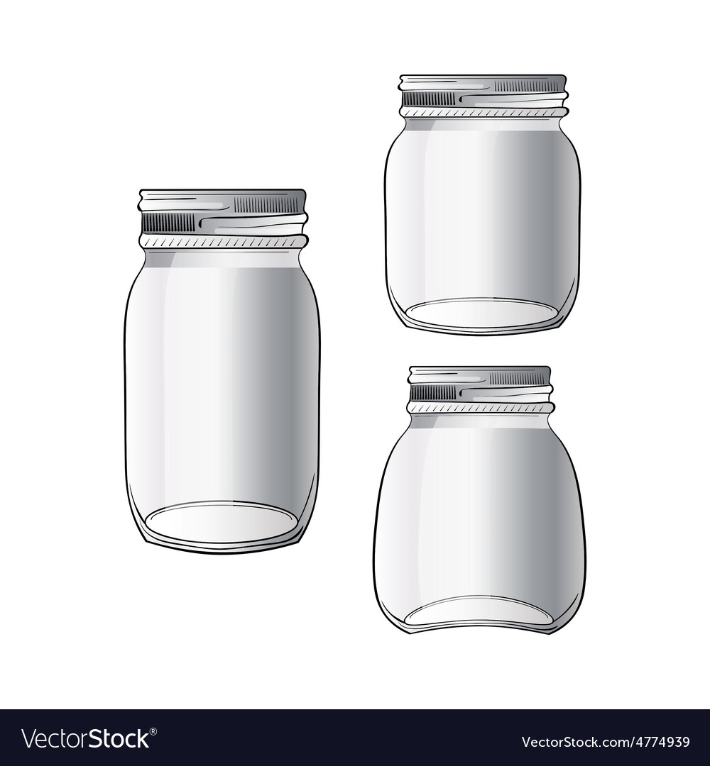Collection of tree different doodle jars vector