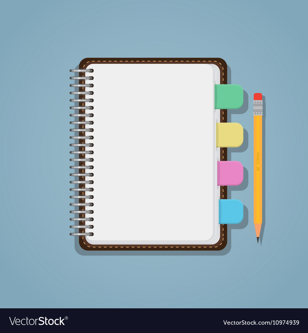 Notebook with bookmarks and pencil vector
