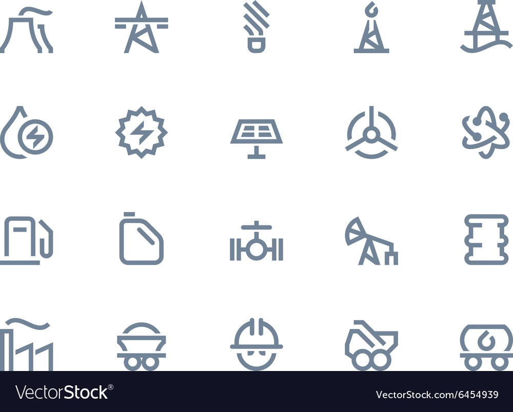 Petrol and power generation icons line series vector
