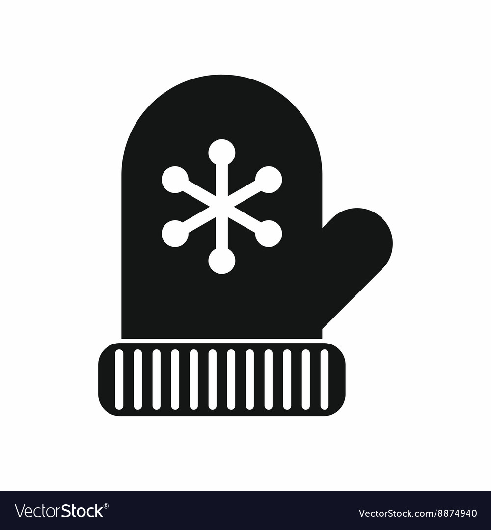 Mitten icon black simple style vector