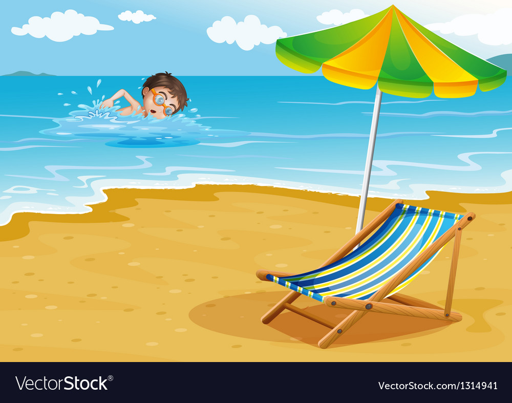 A boy swimming at the beach with an umbrella and a vector