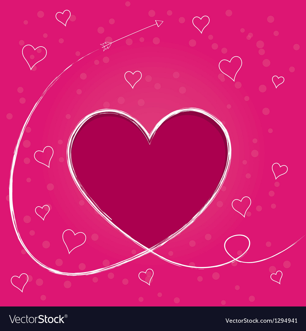 Card with heart and trail of cupids arrow vector