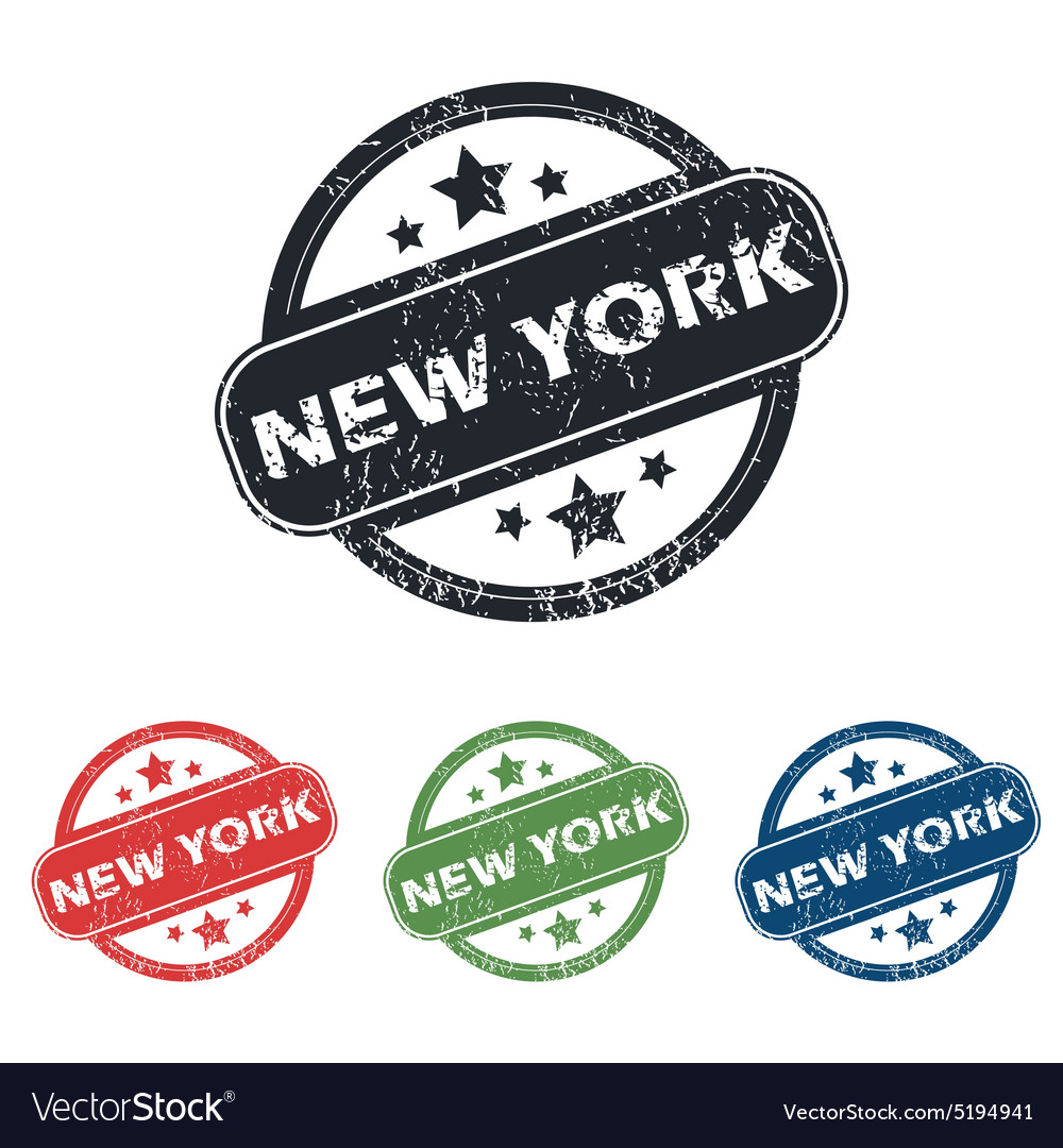 Round new york stamp set vector