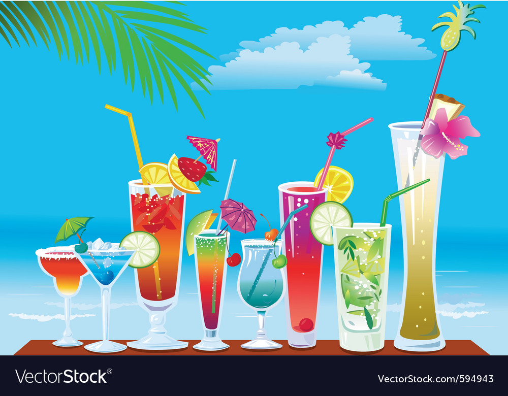 Cocktails on the beach on sky background vector