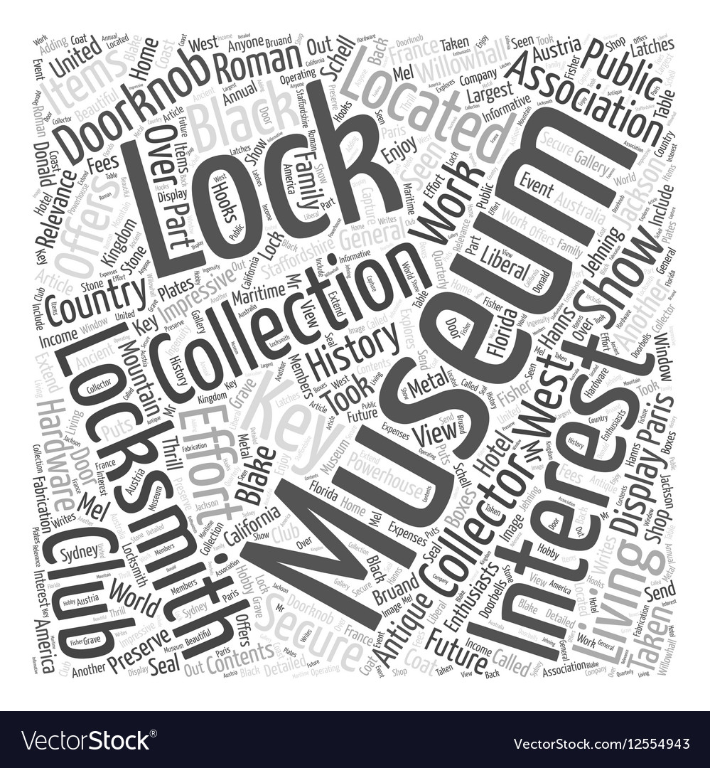Museums for locksmiths word cloud concept vector