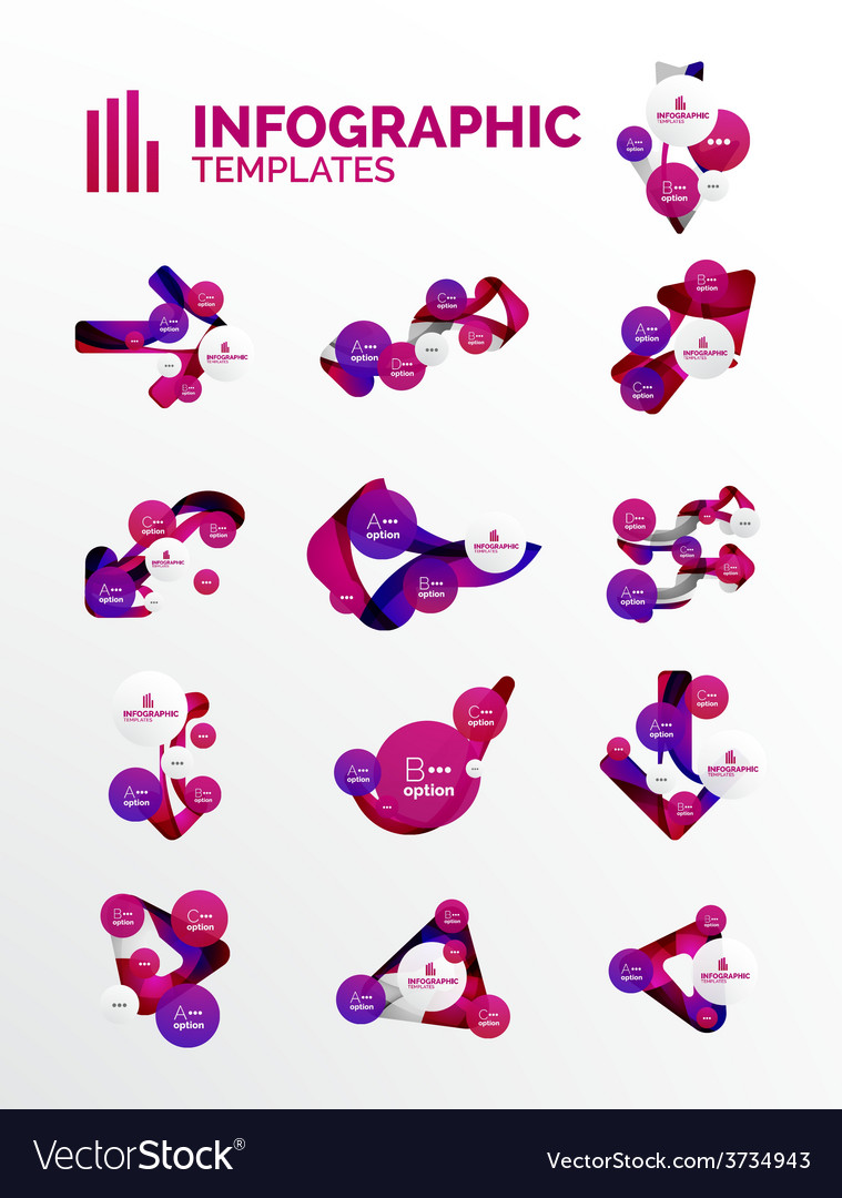 Set of modern business infographics vector
