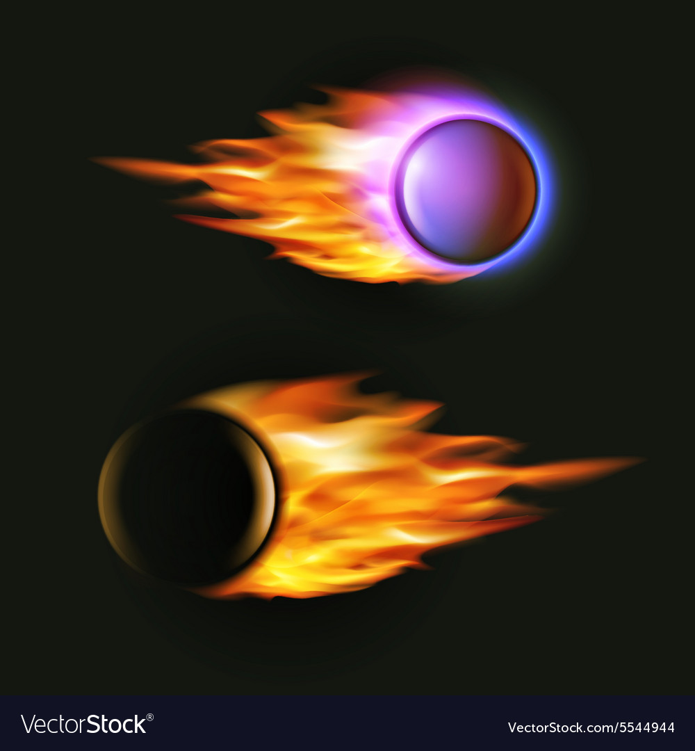 Fireball on black background flying vector