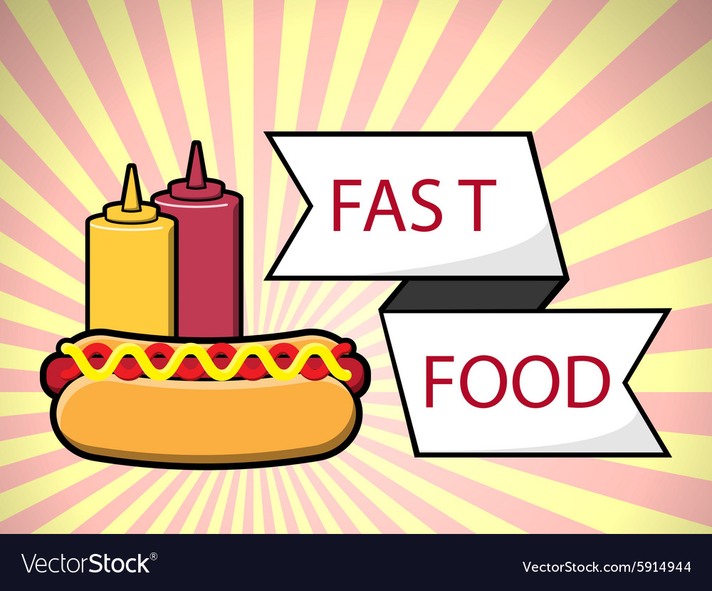 Hot dog fast food over vector